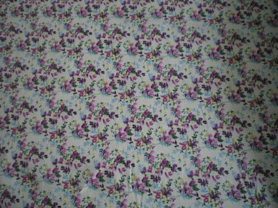 CREAM WITH BURGANDY FLOWER POLY COTTON FABRIC - 45 INCHES WIDE - PRICE PER METER