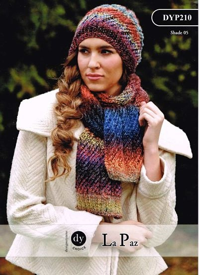 DY LADIES HAT AND SCARF KNITTING PATTERN DYP210