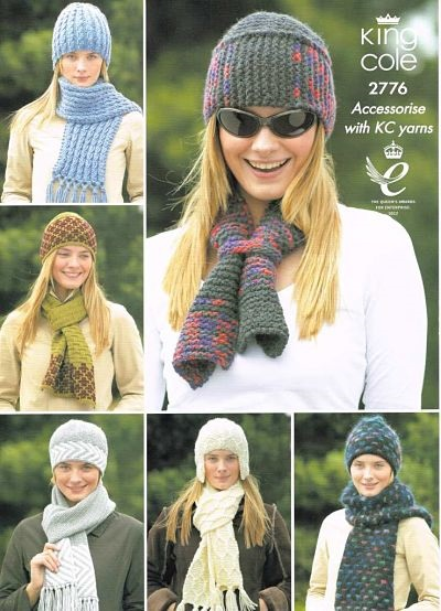 KING COLE LADIES CHUNKY/ARAN/DK HAT AND SCARF KNITTING PATTERN 2776