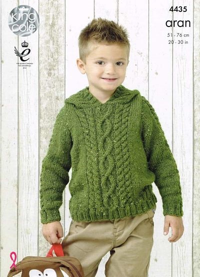 KING COLE ARAN KNITTING PATTERN 4435