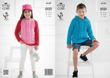 KING COLE CHILDRENS ARAN KNITITNG PATTERN 4139