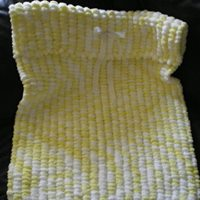 BEAUTIFUL LEMON AND WHITE UNISEX PRAM POMPOM BLANKET