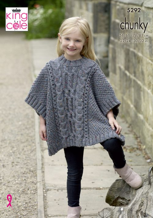 CHILDREN/'S CHUNKY SWEATERS /& TOPS KING COLE KNITTING PATTERNS 4026 /& 4030