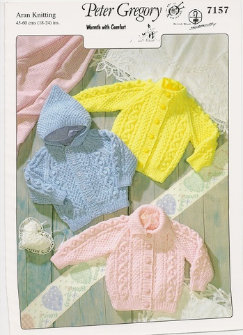 PETER GREGORY TRADITIONAL BABIES ARAN KNITTING PATTERN 7157