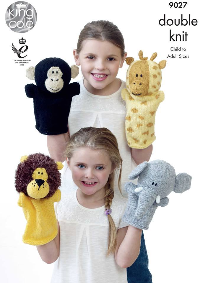 KING COLE ANIMAL PUPPET KNITTING PATTERN 9027
