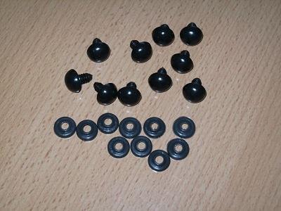 5 X 14MM ALL BLACK TOY SAFETY EYES