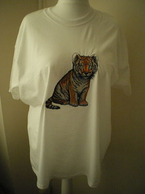 LOVELY MENS MACHINE EMBROIDERED TIGER T-SHIRT SIZE 2XL