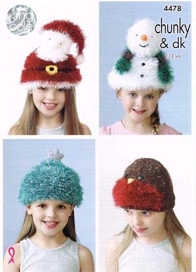 NEW OUT KING COLE TINSEL CHUNKY CHRISTMAS HATS KNITTING PATTERN 4478