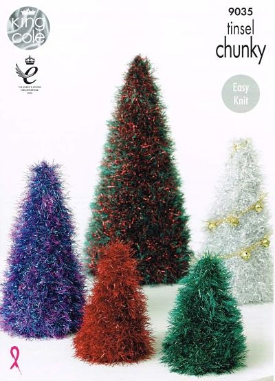 BRAND NEW KING COLE TINSEL CHUNKY CHRISTMAS TREE AND BOBBLES KNITITNG PATTERN 9035
