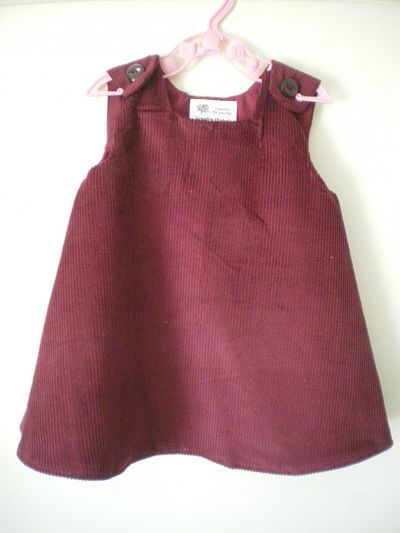 LOVELY GIRLS HANDMADE WINE CORD PINAFORE DRESS - 3/6 MONTHS