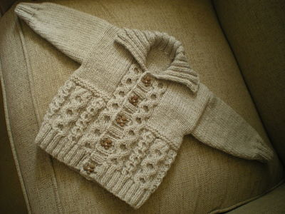 BABY BOYS BEIGE CABLE CARDIGAN 0-3 MONTHS