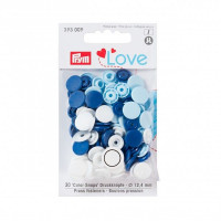 Prym Love Blue/White Mix ColorSnaps 12.4mm Diameter Round Non-Sew Snap Fasteners (30pc)