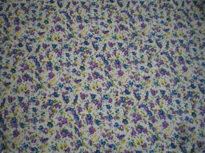 BLUE AND LILAC FLOWER COTTON FABRIC 44 INCHES WIDE PRICE PER METRE