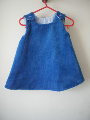 LOVELY GIRLS HANDMADE BLUE CORD PINAFORE DRESS 3/6 MONTHS