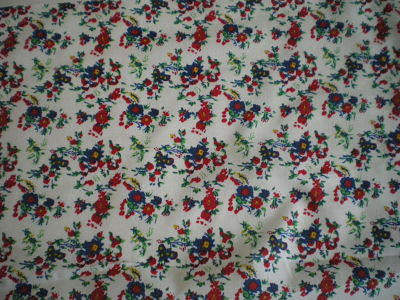 BLUE AND RED FLORAL FABRIC 44 INCHES WIDE PRICE PER METRE