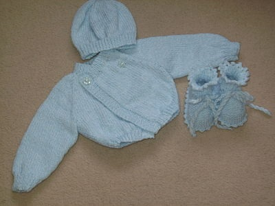 LOVELY BOYS PALE BLUE CARDIGAN SET 0-3 MONTHS