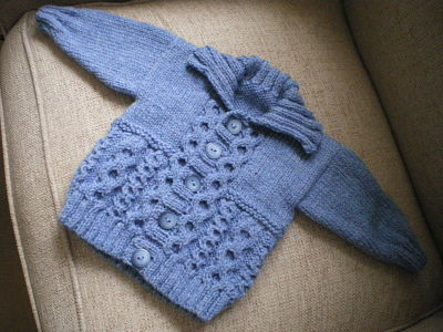 BABY BOYS DENIM CABLE CARDIGAN 0-3 MONTHS