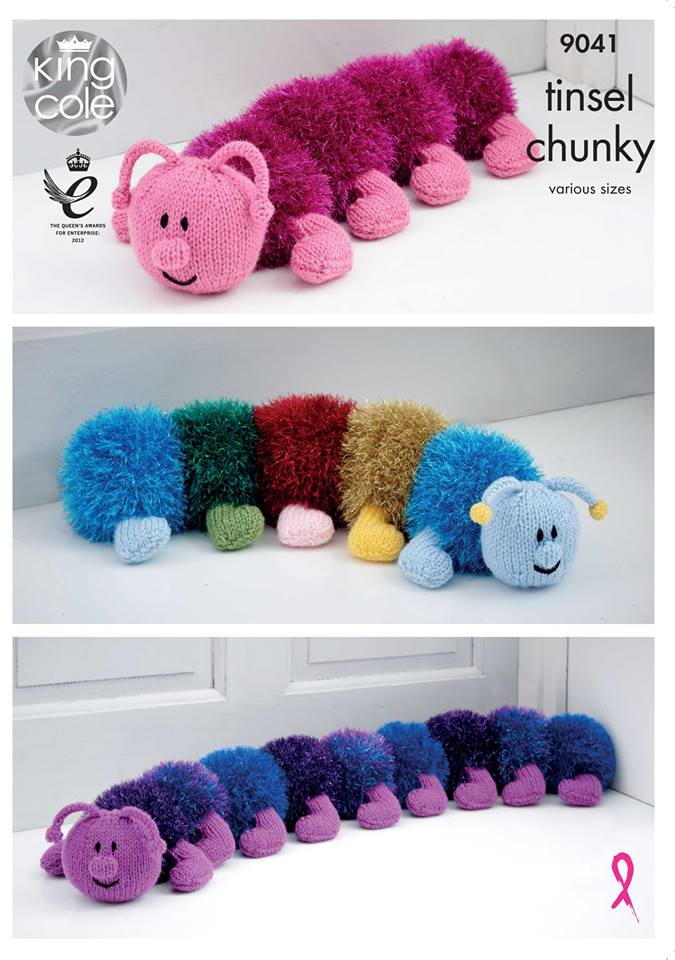 NEW OUT KING COLE TINSEL CHUNKY CATERPILLAR KNITTING PATTERN 9041