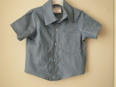 LOVELY BOYS HANDMADE DENIM SHIRT 12- 18 MONTHS