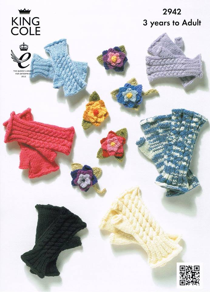 KING COLE FINGERLESS GLOVE KNITTING PATTERN 2942