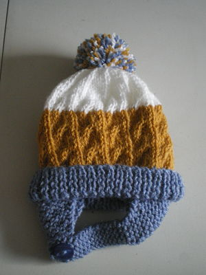 LOVELY BOYS HAND KNITTED CABLE HAT WITH EAR FLAPS BIRTH-3 MONHTS