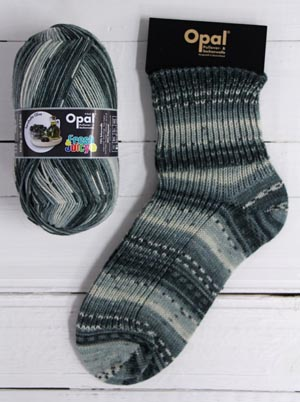 OPAL 4PLY SOCK WOOL FRESH AND JUICY HEARTY OLIVE (9366)