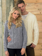 JAMES BRETT UNISEX ARAN JUMPER KNITTING PATTERN JB214