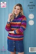 KING COLE BRAMBLES LADIES SWEATER KNITTING PATTERN (5647)