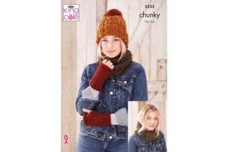 KING COLE LADIES CHUNKY HAT,SNOOD,HAND WARMERS KNITITNG PATTERN - 5553