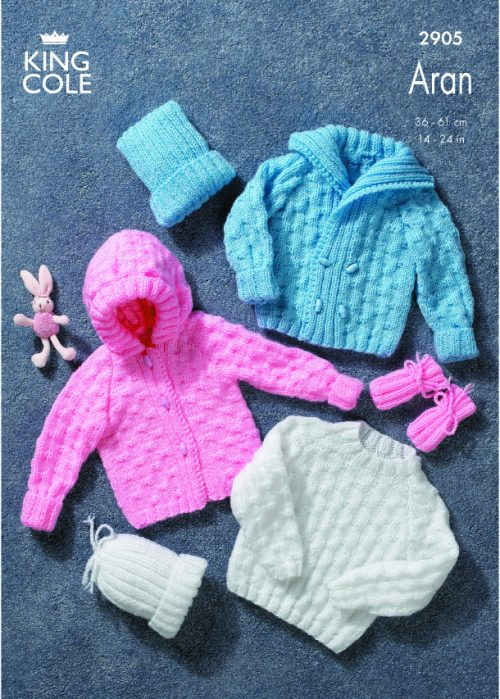 KING COLE BABIES ARAN JUMPER,HAT AND MITTEN KNITTING PATTERN (2905)
