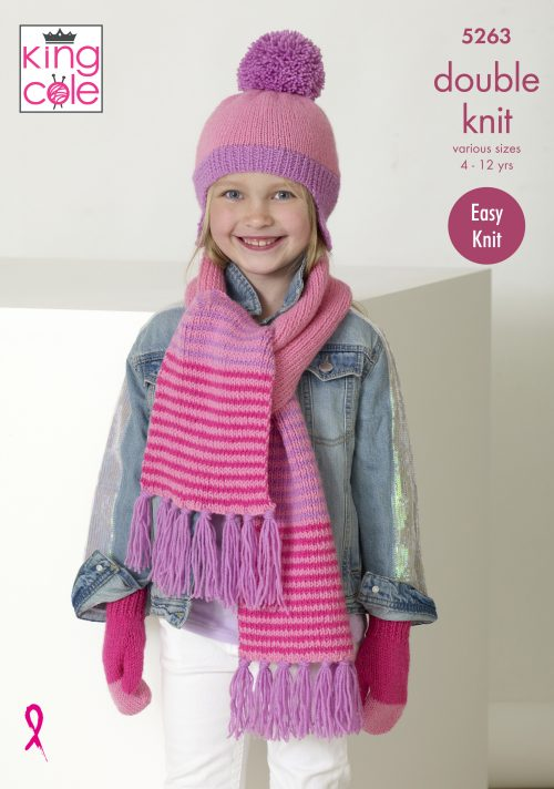 New Out King Cole Girls Dk Hat Scarf And Mittens Knitting Pattern 5263