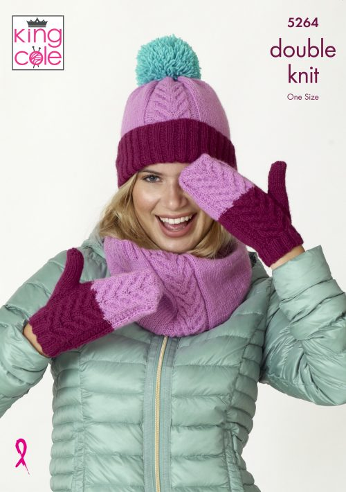 NEW OUT KING COLE LADIES DK SNOOD,HAT AND SCARF KNITTING PATTERN (5264)