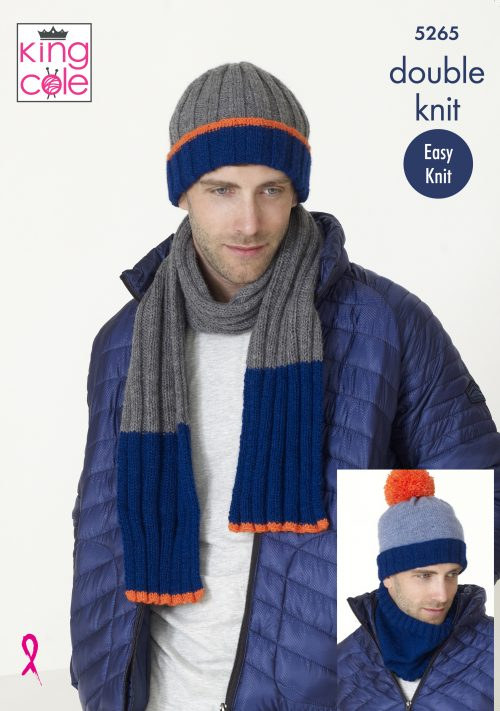NEW OUT KING COLE MENS DK HAT AND SCARF KNITTING PATTERN (5265)