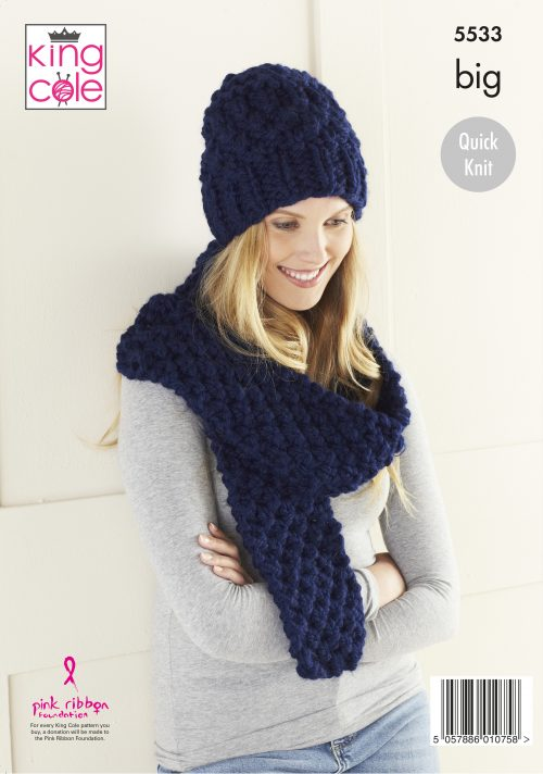 KING COLE LADIES HAT AND SCARF AND COWL BIG KNITTING PATTERN - 5533