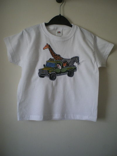LOVELY BOYS MACHINE EMBROIDERED SAFARI T-SHIRT - 3/4 YEARS