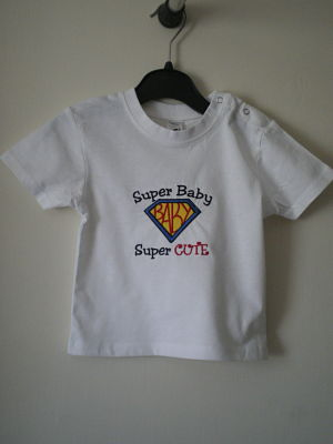 BOYS MACHINE EMBROIDERED SUPER BABY SUPER CUTE T-SHIRT - 6/12 MONTHS