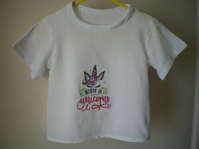 LOVELY GIRLS HANDMADE I LOVE UNICORNS T-SHIRT 3/6 MONTHS