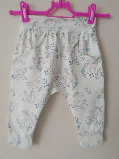 LOVELY GIRLS HANDMADE UNICORN HAREM TROUSERS AGE 5/6 YEARS